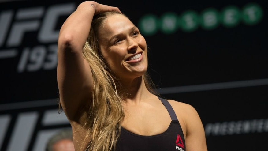 MELBOURNE, AUSTRALIA - NOVEMBER 14: UFC women's bantamweight champion Ronda Rousey of the United States steps off the scale during the UFC 193 weigh-in at Etihad Stadium on November 14, 2015 in Melbourne, Australia. (Photo by Brandon Magnus/Zuffa LLC/Zuffa LLC via Getty Images)