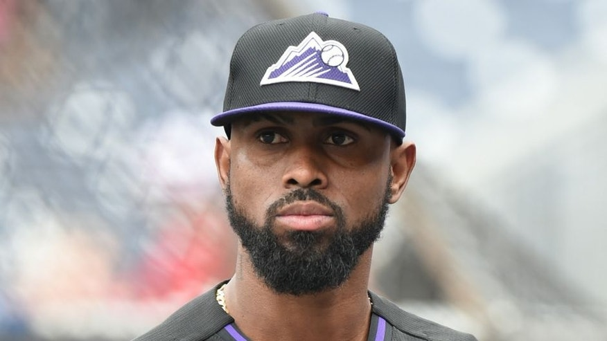 <p>WASHINGTON, DC - AUGUST 07: Jose Reyes #7 of the Colorado Rockies looks on before a baseball game against the Washington Nationals at Nationals Park at on August 7, 2015 in Washington, DC. The Rockies won 5-4. (Photo by Mitchell Layton/Getty Images)</p>