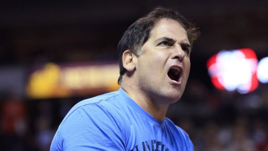 Dallas Mavericks owner Mark Cuban reacts during the first half against the Oklahoma City Thunder at American Airlines Center. Mandatory Credit: Kevin Jairaj-USA TODAY Sports