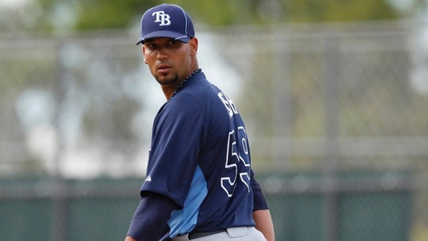 ORG XMIT: FLCK10 Tampa Bay Rays pitcher Matt Bush during a spring training baseball game in Fort Myers, Fla., Thursday, March 8, 2012. AP Photo/Charles Krupa)