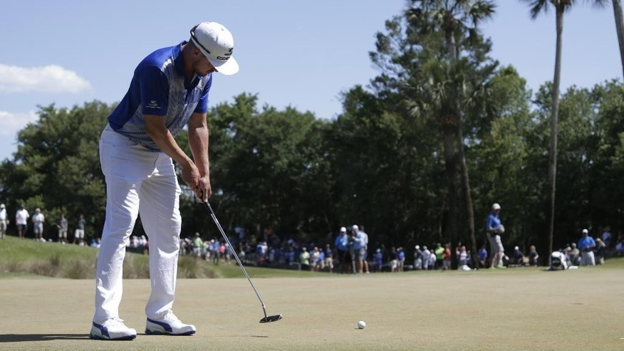 Jonas Blixt of Sweden, putts on the sixth green during the third round of The Players Championship golf tournament Saturday, May 14, 2016, in Ponte Vedra Beach, Fla. (AP Photo/Lynne Sladky)