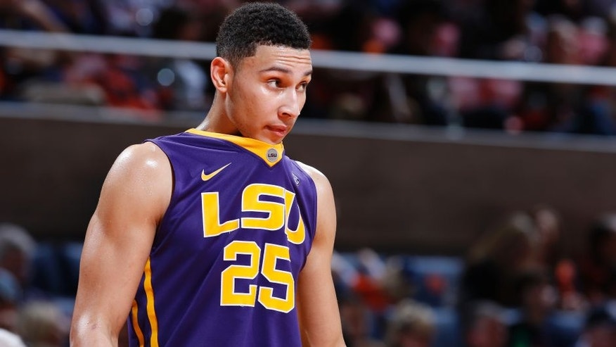 AUBURN, AL - FEBRUARY 2: Ben Simmons #25 of the LSU Tigers looks on against the Auburn Tigers during the game at Auburn Arena on February 2, 2016 in Auburn, Alabama. LSU defeated Auburn 80-68. (Photo by Joe Robbins/Getty Images)