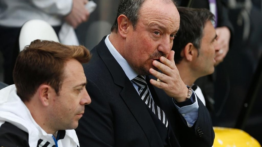 Newcastle United manager Rafael Benitez during the Barclays Premier League match at St James' Park, Newcastle. during the English Premier League soccer match between Newcastle United and Tottenham Hotspur at St James' Park stadium in Newcastle, England. Sunday May 15, 2016. (Owen Humphreys/PA via AP) UNITED KINGDOM OUT - NO SALES - NO ARCHIVE