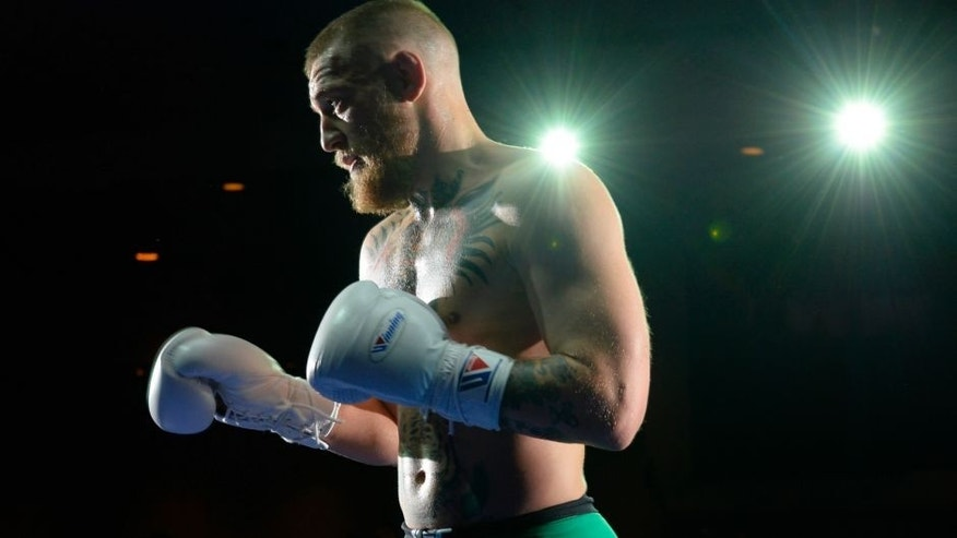 LAS VEGAS, NV - MARCH 2: UFC featherweight champion Conor McGregor holds an open training session for fans and media at the Jabbawockeez Theater in the MGM Grand Hotel/Casino on March 2, 2016 in Las Vegas, Nevada. (Photo by Brandon Magnus/Zuffa LLC/Zuffa LLC via Getty Images)
