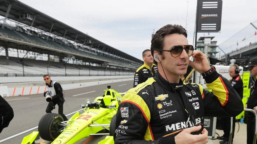 Simon Pagenaud, of France, prepares for a practice session for the Indianapolis 500 auto race at Indianapolis Motor Speedway in Indianapolis, Monday, May 16, 2016. (AP Photo/Darron Cummings)