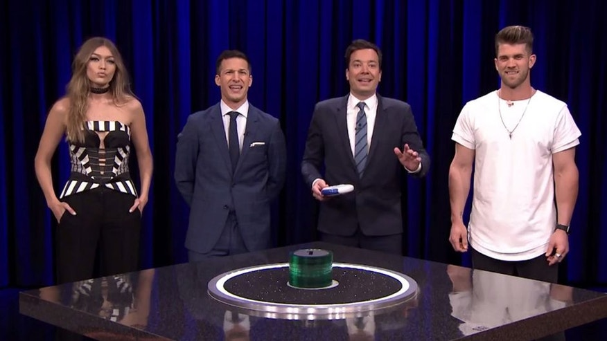 "Bryce Harper got very competitive in a game of Catchphrase on ""The Tonight Show."""