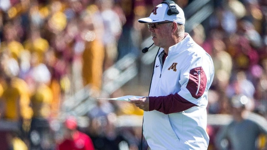 <p>Sep 19, 2015; Minneapolis, MN, USA; Minnesota Golden Gophers head coach Jerry Kill looks on during the first half against the Kent State Golden Flashes at TCF Bank Stadium. Mandatory Credit: Jesse Johnson-USA TODAY Sports</p>