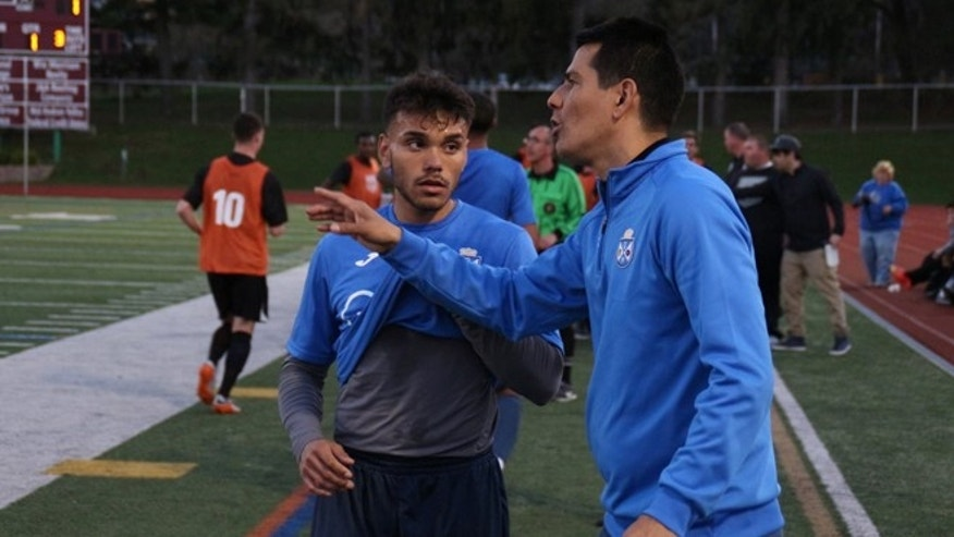 Alexis Bustillo with Carlos Santander. (Photo: Jeff Weisinger/used with permission of Kew Forest FC)