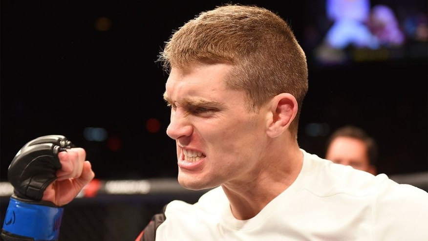 LAS VEGAS, NV - FEBRUARY 06: Stephen Thompson celebrates after defeating Johny Hendricks in their welterweight fight during the UFC Fight Night event at MGM Grand Garden Arena on February 6, 2016 in Las Vegas, Nevada. (Photo by Josh Hedges/Zuffa LLC/Zuffa LLC via Getty Images)
