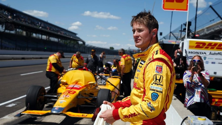 Ryan Hunter-Reay prepares to drive during a practice session for the Indianapolis 500 auto race at Indianapolis Motor Speedway in Indianapolis, Wednesday, May 18, 2016. (AP Photo/Michael Conroy)