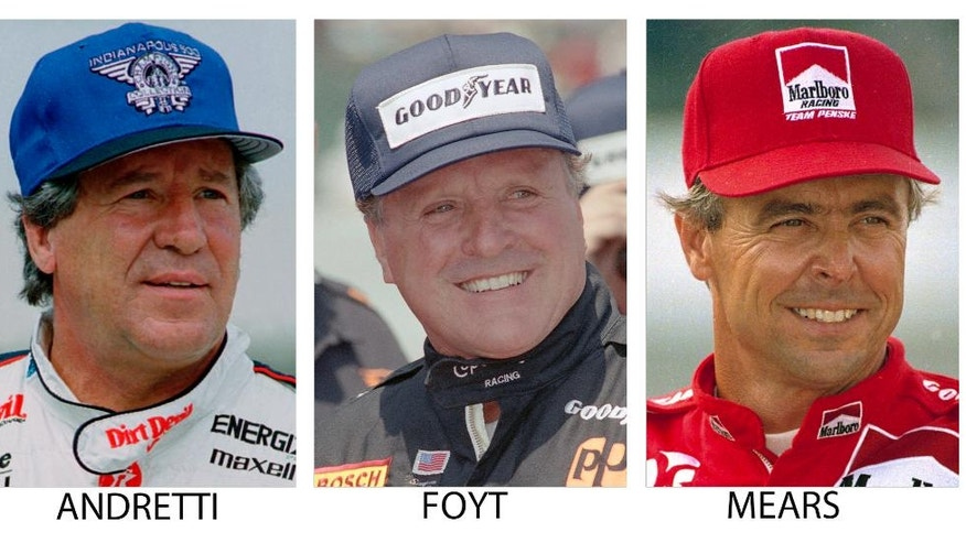FILE - From left are file photos showing Mario Andretti in 1994, A.J. Foyt in 1992 and Rick Mears, also in 1992. As the Indianapolis 500 celebrates its centennial race May 29, 2016, The Associated Press has come up with an all-star 33-driver starting field. Andretti, Foyt and Mears are listed in Row 1. (AP Photo/File)