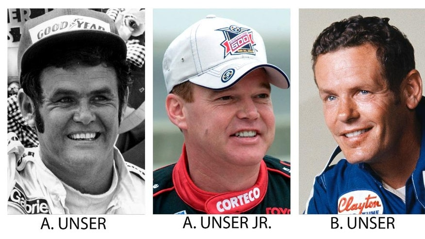 FILE - From left are file photos showing Al Unser in 1978, Al Unser Jr., in 2003 and Bobby Unser in 1977. As the Indianapolis 500 celebrates its centennial race May 29, 2016, The Associated Press has come up with an all-star 33-driver starting field. The Unsers are listed in Row 2. (AP Photo/File)