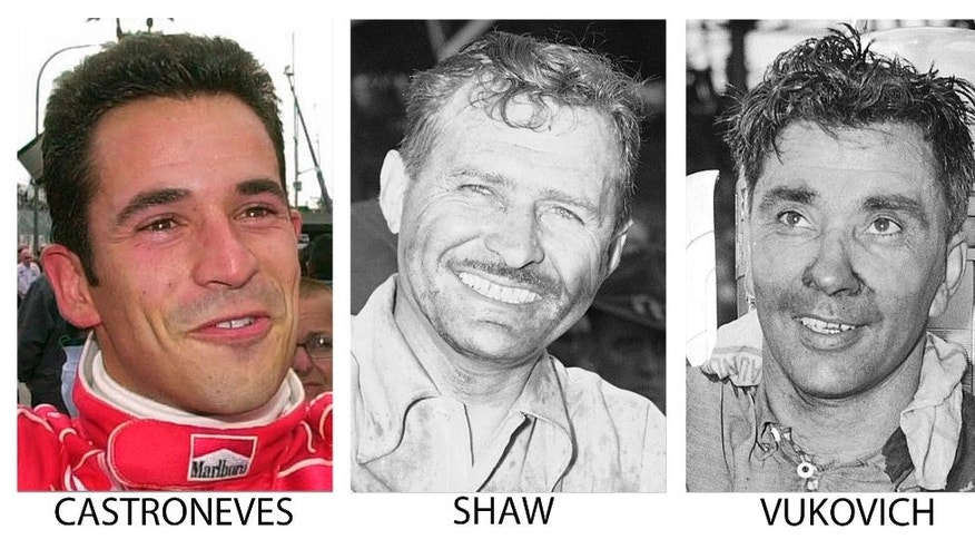 FILE - From left are file photos showing Helio Castroneves in in 2001, Wilbur Shaw in 1940 and Bill Vukovich in 1953. As the Indianapolis 500 celebrates its centennial race May 29, 2016, The Associated Press has come up with an all-star 33-driver starting field. Castroneves, Shaw and Vukovich are listed in Row 3. (AP Photo/File)