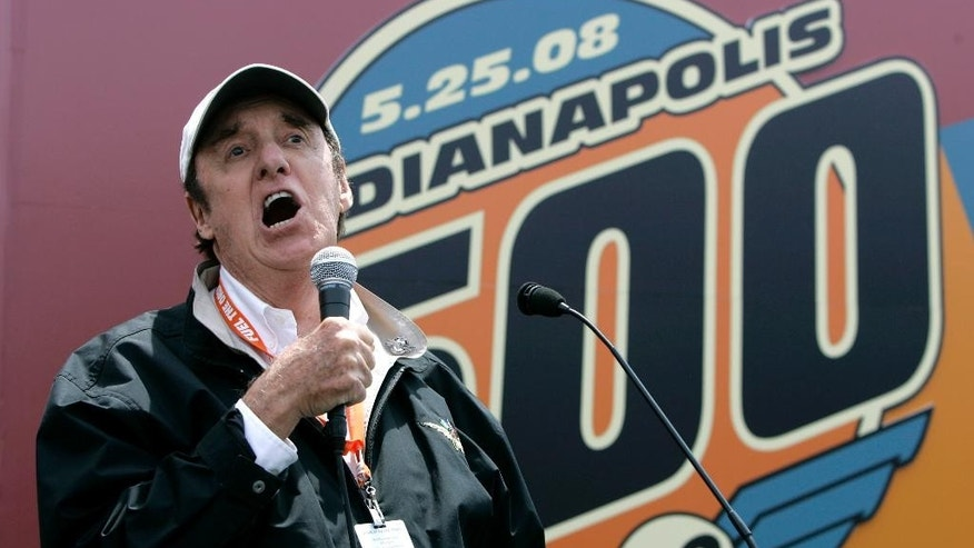 "FILE - In this May 25, 2008, file photo, Jim Nabors sings ""Back Home Again in Indiana"" before the 92nd running of the Indianapolis 500 auto race at Indianapolis Motor Speedway in Indianapolis.  (AP Photo/Darron Cummings, File)"