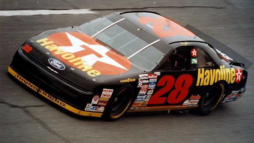 CHARLOTTE, NC - MAY 16: Davey Allison races in the Winston All-Star Event on May 16, 1992 in Charlotte, North Carolina. Davey Allison won his second consecutive Winston All-Star event in spectacular fashion, spinning into the wall at the checkered flag and going to the hospital instead of victory lane. (Photo by ISC Archives via Getty Images)