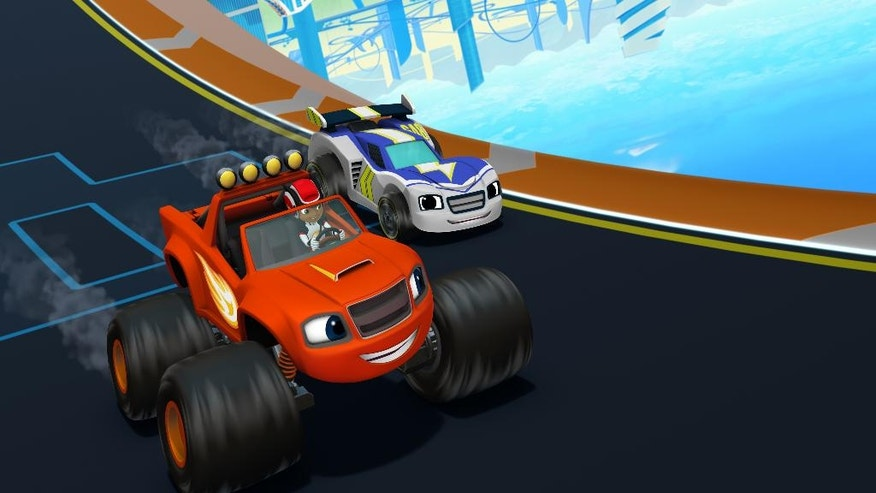 "This image provided by Nickelodeon shows a scene from series ""Blaze and the Monster Machines."" Race driver Jimmie Johnson, Danica Patrick, Chase Elliott and Kasey Kahne all voice characters in the six-episode block of race episodes.  (Nickelodeon via AP) NO SALES"