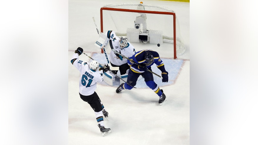St. Louis Blues center David Backes, right, scores a goal against San Jose Sharks goalie Martin Jones (31) during the first period in Game 1 of the NHL hockey Stanley Cup Western Conference finals, Sunday, May 15, 2016, in St. Louis. (AP Photo/Jeff Roberson)
