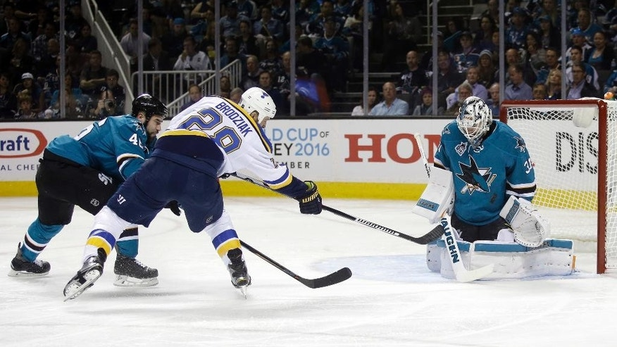 San Jose Sharks goalie Martin Jones, right, stops a shot from St. Louis Blues' Kyle Brodziak (28) during the second period in Game 3 of the NHL hockey Stanley Cup Western Conference finals Thursday, May 19, 2016, in San Jose, Calif. (AP Photo/Marcio Jose Sanchez)