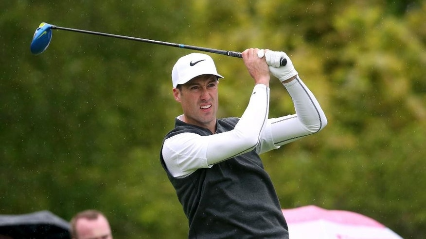 England's Ross Fisher on the 15th tee during day one of the Irish Open golf tournament at The K Club, Straffran, County Kildare, Ireland, Thursday, May 19, 2016. Ross Fisher and Martin Kaymer share the early Irish Open lead with opening rounds of 3-under 69. (Brian Lawless/PA via AP) UNITED KINGDOM OUT