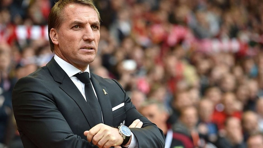LIVERPOOL, ENGLAND - SEPTEMBER 20: (THE SUN OUT, THE SUN ON SUNDAY OUT) Brendan Rodgers manager of Liverpool watches before the Barclays Premier League match between Liverpool and Norwich City on September 20, 2015 in Liverpool, United Kingdom. (Photo by John Powell/Liverpool FC via Getty Images)
