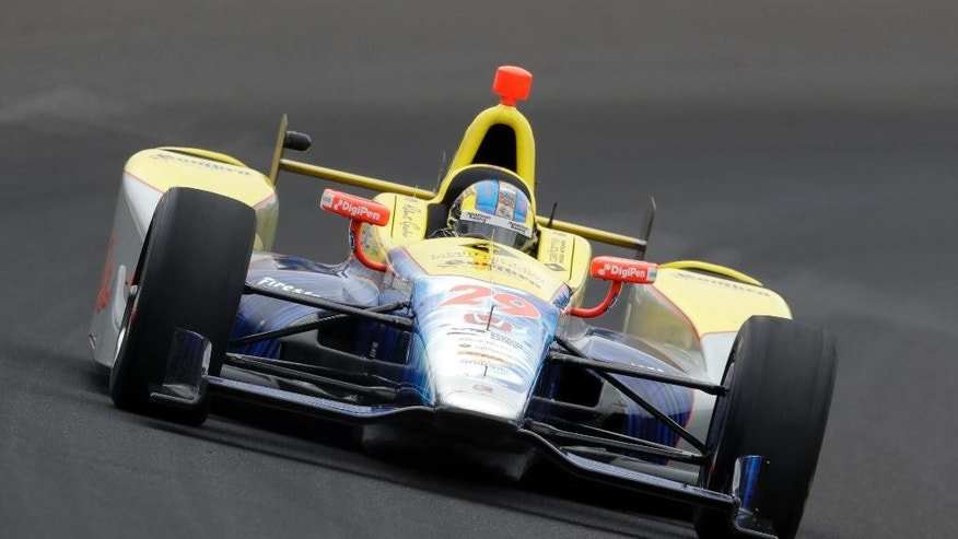 Townsend Bell drives his car during a practice session for the Indianapolis 500 auto race at Indianapolis Motor Speedway in Indianapolis, Friday, May 20, 2016. (AP Photo/Darron Cummings)