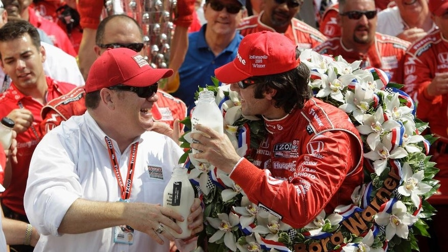FILE - In this May 30, 2010, file photo, car owner Chip Ganassi, left, celebrates with Dario Franchitti, of Scotland, after they won the Indianapolis 500 auto race at Indianapolis Motor Speedway in Indianapolis.  (AP Photo/Darron Cummings, File)