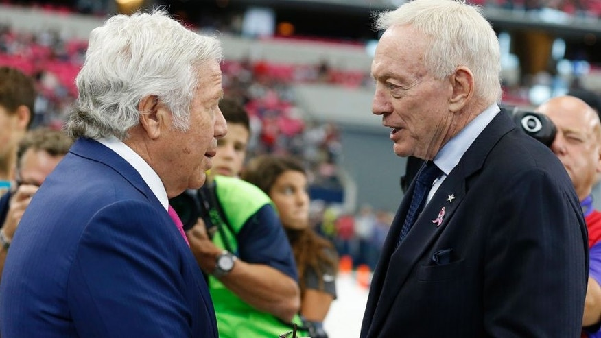 Oct 11, 2015; Arlington, TX, USA; Dallas Cowboys owner Jerry Jones talks with New England Patriots owner Robert Kraft prior to the game at AT&T Stadium. Mandatory Credit: Matthew Emmons-USA TODAY Sports