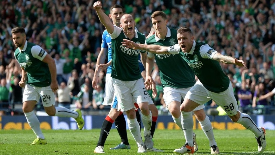 LASGOW, SCOTLAND - MAY 21: Anthony Stokes of Hibernian celebrates scoring a goal in the second half with his team mates during the William Hill Scottish Cup Final between Rangers FC and Hibernian FC at Hamden Park on May 21, 2016 in Glasgow, Scotland. (Photo by Mark Runnacles/Getty Images)