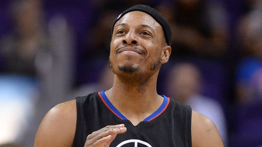 PHOENIX, AZ - APRIL 13: Paul Pierce #34 of the Los Angeles Clippers reacts on the court during the first half of the NBA game against the Phoenix Suns at Talking Stick Resort Arena on April 13, 2016 in Phoenix, Arizona. The Suns defeated the Clippers 114 - 105. NOTE TO USER: User expressly acknowledges and agrees that, by downloading and or using this photograph, User is consenting to the terms and conditions of the Getty Images License Agreement. (Photo by Jennifer Stewart/Getty Images)