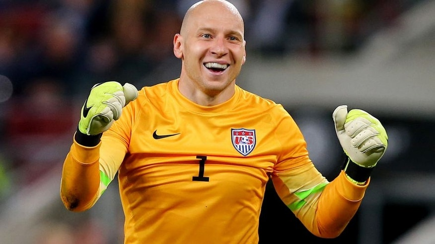 COLOGNE, GERMANY - JUNE 10: Brad Guzan, goalkeeper of USA celebrates during the International Friendly match between Germany and USA at RheinEnergieStadion on June 10, 2015 in Cologne, Germany. (Photo by Martin Rose/Bongarts/Getty Images)