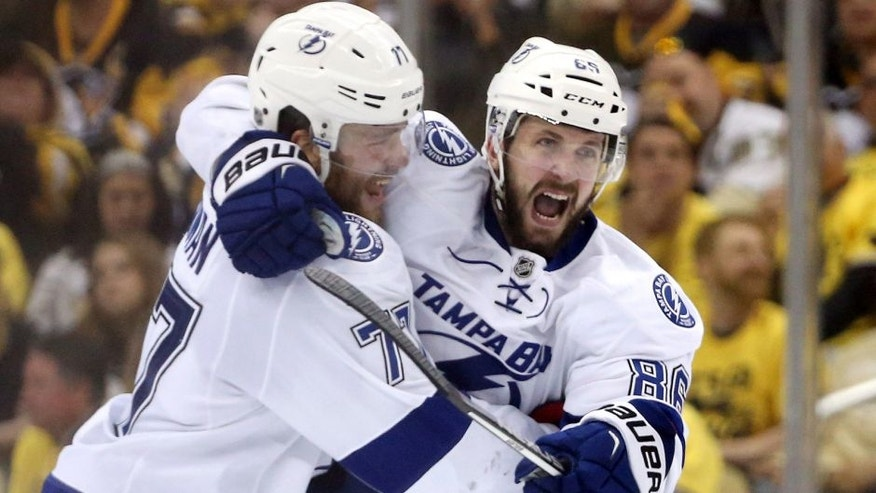 May 22, 2016; Pittsburgh, PA, USA; Tampa Bay Lightning defenseman Victor Hedman (77) congratulates right wing Nikita Kucherov (86) on his game tying goal against the Pittsburgh Penguins during the third period in game five of the Eastern Conference Final of the 2016 Stanley Cup Playoffs at the CONSOL Energy Center. Mandatory Credit: Charles LeClaire-USA TODAY Sports