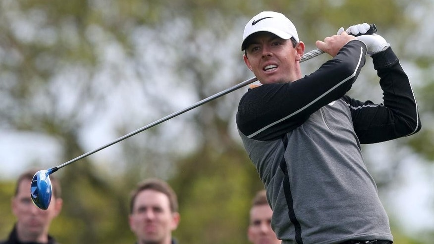Northern Ireland's Rory McIlroy watches his shot off the 18th tee on day four of the Irish Open at The K Club, County Kildare, Ireland, Sunday May 22, 2016. (Brian Lawless/PA via AP) UNITED KINGDOM OUT