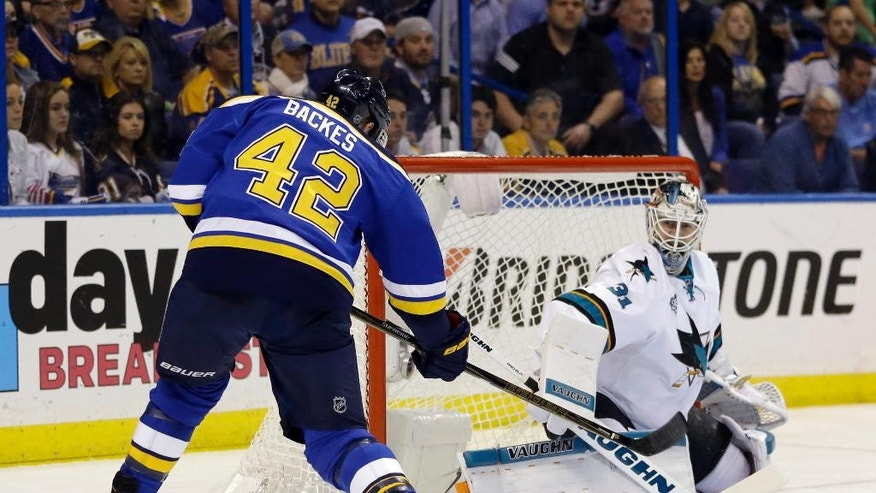 San Jose Sharks goalie Martin Jones (31) blocks a shot by St. Louis Blues center David Backes (42) during the second period in Game 5 of the NHL hockey Stanley Cup Western Conference finals, Monday, May 23, 2016, in St. Louis. (AP Photo/Jeff Roberson)