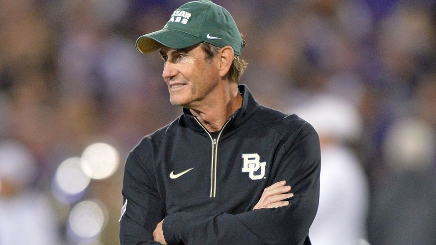 <p>MANHATTAN, KS - NOVEMBER 05: Head coach Art Briles of the Baylor Bears looks on prior to a game against the Kansas State Wildcats on November 5, 2015 at Bill Snyder Family Stadium in Manhattan, Kansas. (Photo by Peter G. Aiken/Getty Images)</p>