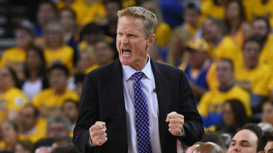 May 11, 2016; Oakland, CA, USA; Golden State Warriors head coach Steve Kerr reacts against the Portland Trail Blazers during the second quarter in game five of the second round of the NBA Playoffs at Oracle Arena. Mandatory Credit: Kyle Terada-USA TODAY Sports