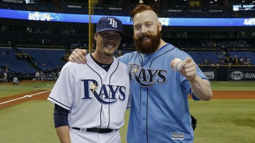 WWE star Sheamus throws out the first pitch before the Tampa Bay Rays game.