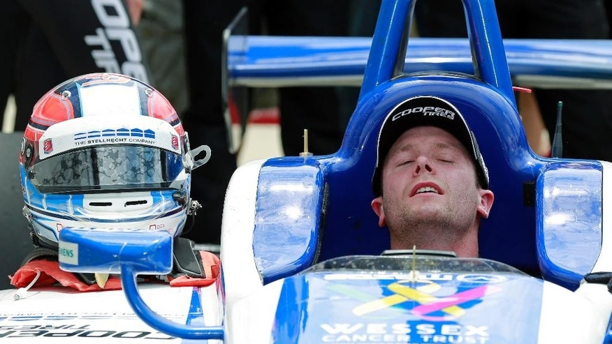 Dean Stoneman, of England, reacts after winning the Indy Lights Freedom 100 Race at Indianapolis Motor Speedway in Indianapolis, Friday, May 27, 2016. (AP Photo/R Brent Smith)