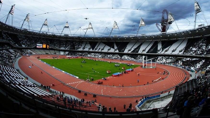 This Saturday, May 5, 2012 file photo shows the Olympic Stadium in the Olympic Park in London.