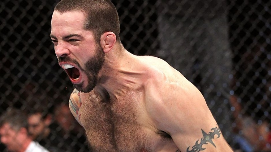 LAS VEGAS, NV - FEBRUARY 04: Matt Brown reacts after his knockout victory over Chris Cope during the UFC 143 event at Mandalay Bay Events Center on February 4, 2012 in Las Vegas, Nevada. (Photo by Nick Laham/Zuffa LLC/Zuffa LLC via Getty Images)