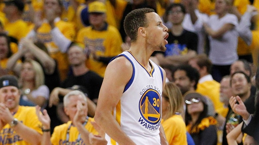 May 26, 2016; Oakland, CA, USA; Golden State Warriors guard Stephen Curry (30) celebrates after scoring against the Oklahoma City Thunder in the fourth quarter in game five of the Western conference finals of the NBA Playoffs at Oracle Arena. The Warriors defeated the Thunder 120-111. Mandatory Credit: Cary Edmondson-USA TODAY Sports