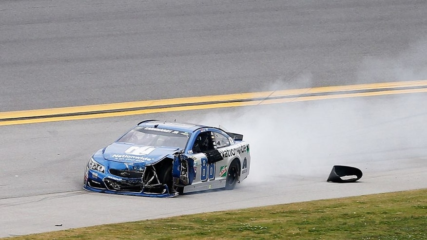 TALLADEGA, AL - MAY 01: Dale Earnhardt Jr, driver of the #88 Nationwide Chevrolet, drives on the apron after an on track incident during the NASCAR Sprint Cup Series GEICO 500 at Talladega Superspeedway on May 1, 2016 in Talladega, Alabama. (Photo by Brian Lawdermilk/Getty Images)