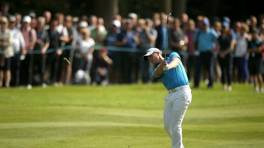 England's Masters champion Danny Willett in action on the sixteenth hole during day three of the PGA Championship at Wentworth Club, Virginia Water, England, Saturday May 28, 2016. Willett made six birdies in a tournament-record 29 on the front nine on Friday. (Steve Paston / PA via AP) UNITED KINGDOM OUT - NO SALES - NO ARCHIVES