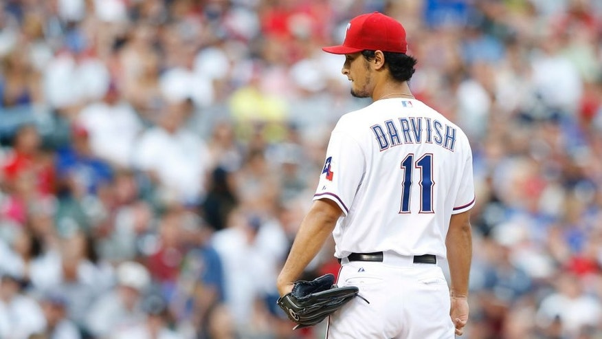 <p>Jul 28, 2014; Arlington, TX, USA; Texas Rangers starting pitcher Yu Darvish (11) throws during the game against the New York Yankees at Globe Life Park in Arlington. Mandatory Credit: Kevin Jairaj-USA TODAY Sports</p>