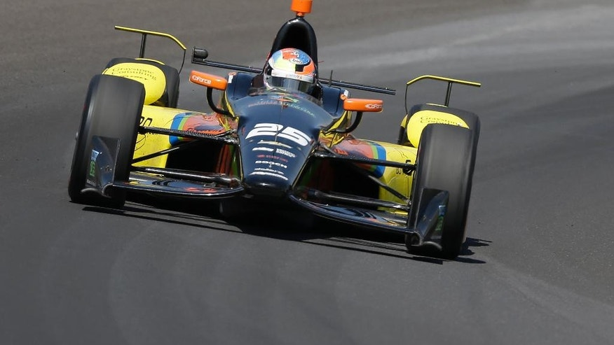 Stefan Wilson, of England, drives through turn one during the final practice session for the Indianapolis 500 auto race at Indianapolis Motor Speedway in Indianapolis, Friday, May 27, 2016.