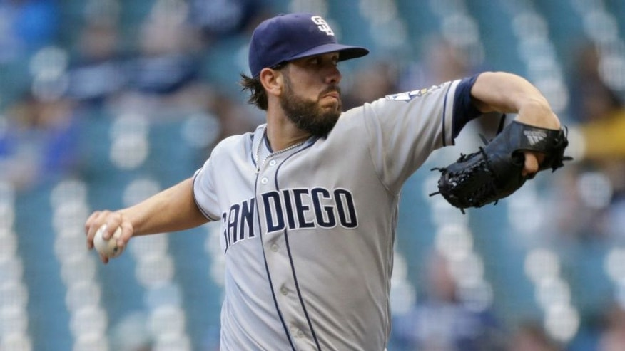 MILWAUKEE, WI - MAY 12: James Shields #33 of the San Diego Padres pitches during the first inning against the Milwaukee Brewers at Miller Park on May 12, 2016 in Milwaukee, Wisconsin. (Photo by Mike McGinnis/Getty Images) *** Local Caption *** James Shields
