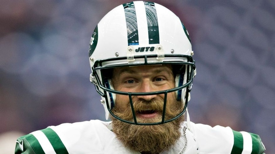 HOUSTON, TX - NOVEMBER 22: Ryan Fitzpatrick #14 of the New York Jets warming up before a game against the Houston Texans at NRG Stadium on November 22, 2015 in Houston, Texas. The Texans defeated the Jets 24-17. (Photo by Wesley Hitt/Getty Images)