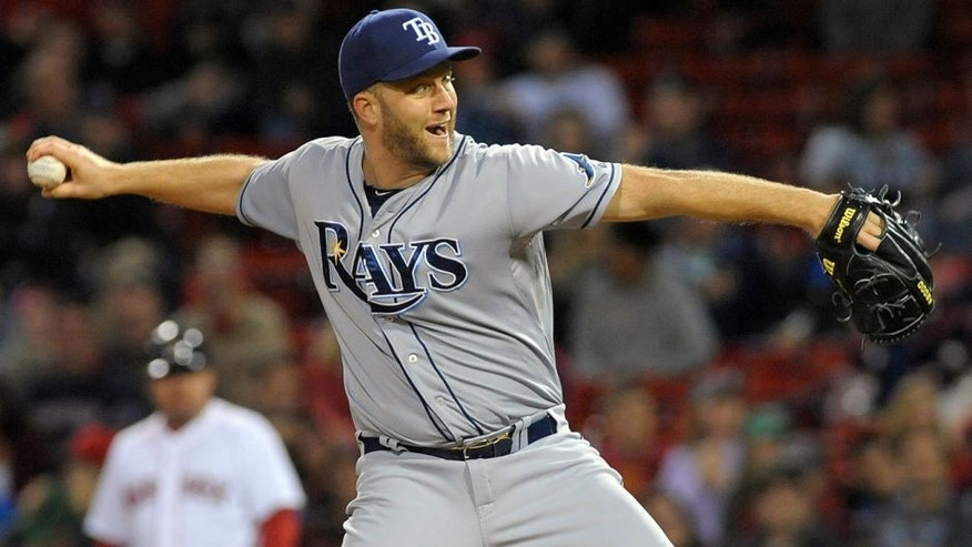 Sep 22, 2015; Boston, MA, USA; Tampa Bay Rays relief pitcher Brad Boxberger (26) pitches during the ninth inning against the Boston Red Sox at Fenway Park. Mandatory Credit: Bob DeChiara-USA TODAY Sports