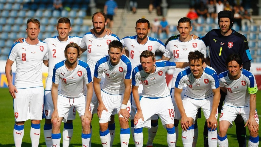 FILE - In this  Friday, May 27, 2016 file photo, team Czech Republic poses prior to a friendly soccer match between Czech Republic and Malta in Kufstein, Germany. The European Championship has a reputation for being the soccer fans' favorite tournament on the global calendar. (AP Photo/Matthias Schrader, File)