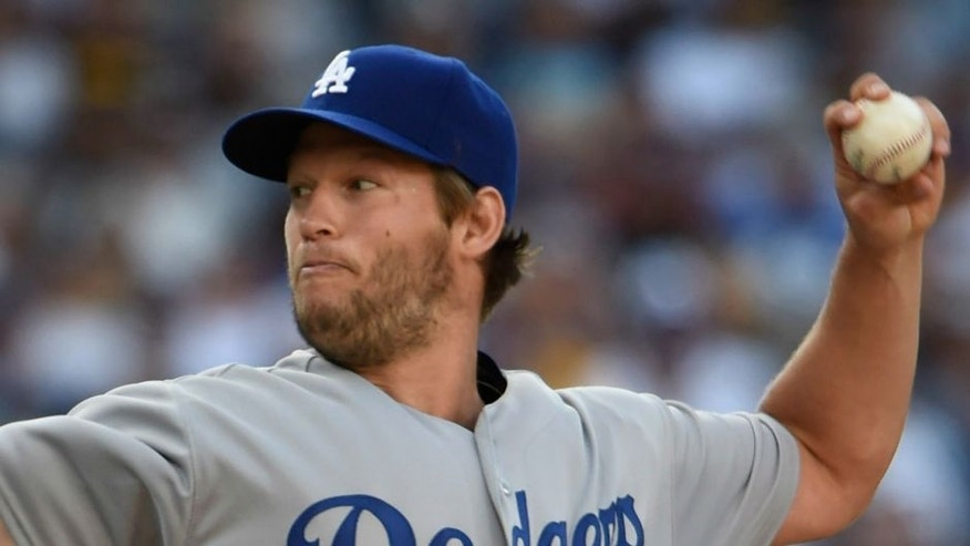 <p>SAN DIEGO, CALIFORNIA - APRIL 04: Clayton Kershaw #22 of the Los Angeles Dodgers plays during a baseball game against the San Diego Padres on opening day at PETCO Park on April 4, 2016 in San Diego, California. (Photo by Denis Poroy/Getty Images)</p>
