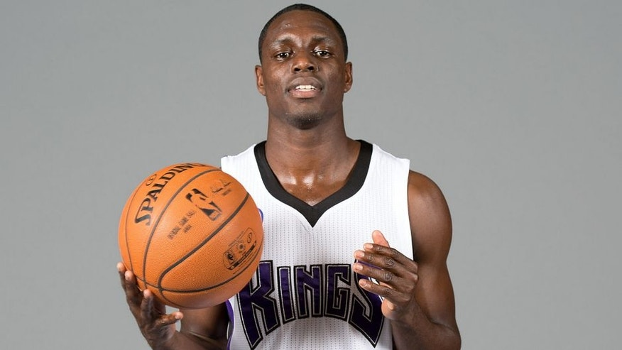 Sep 26, 2014; Sacramento, CA, USA; Sacramento Kings guard Darren Collison (7) during media day at the Sacramento Kings practice facility. Mandatory Credit: Kelley L Cox-USA TODAY Sports